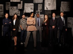 "SCANDAL - ABC's ""Scandal"" stars Henry Ian Cusick as Stephen Finch, Katie Lowes as Quinn Perkins, Guillermo Diaz as Huck, Kerry Washington as Olivia Pope, Columbus Short as Harrison Wright, Darby Stanchfield as Abby Whelan, Jeff Perry as Cyrus Beene and Tony Goldwyn as President Fitzgerald Grant. (ABC/CRAIG SJODIN)"
