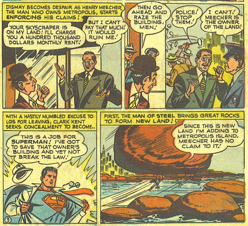 Action Comics 148 Superman defendiendo a los propietarios de rascacielos