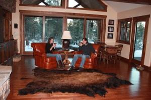 morning coffee with buffalo rug