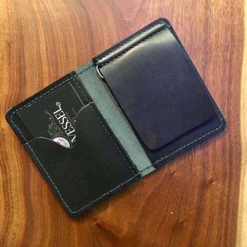 Black Horween Money Clip Wallet with Blue Stitch