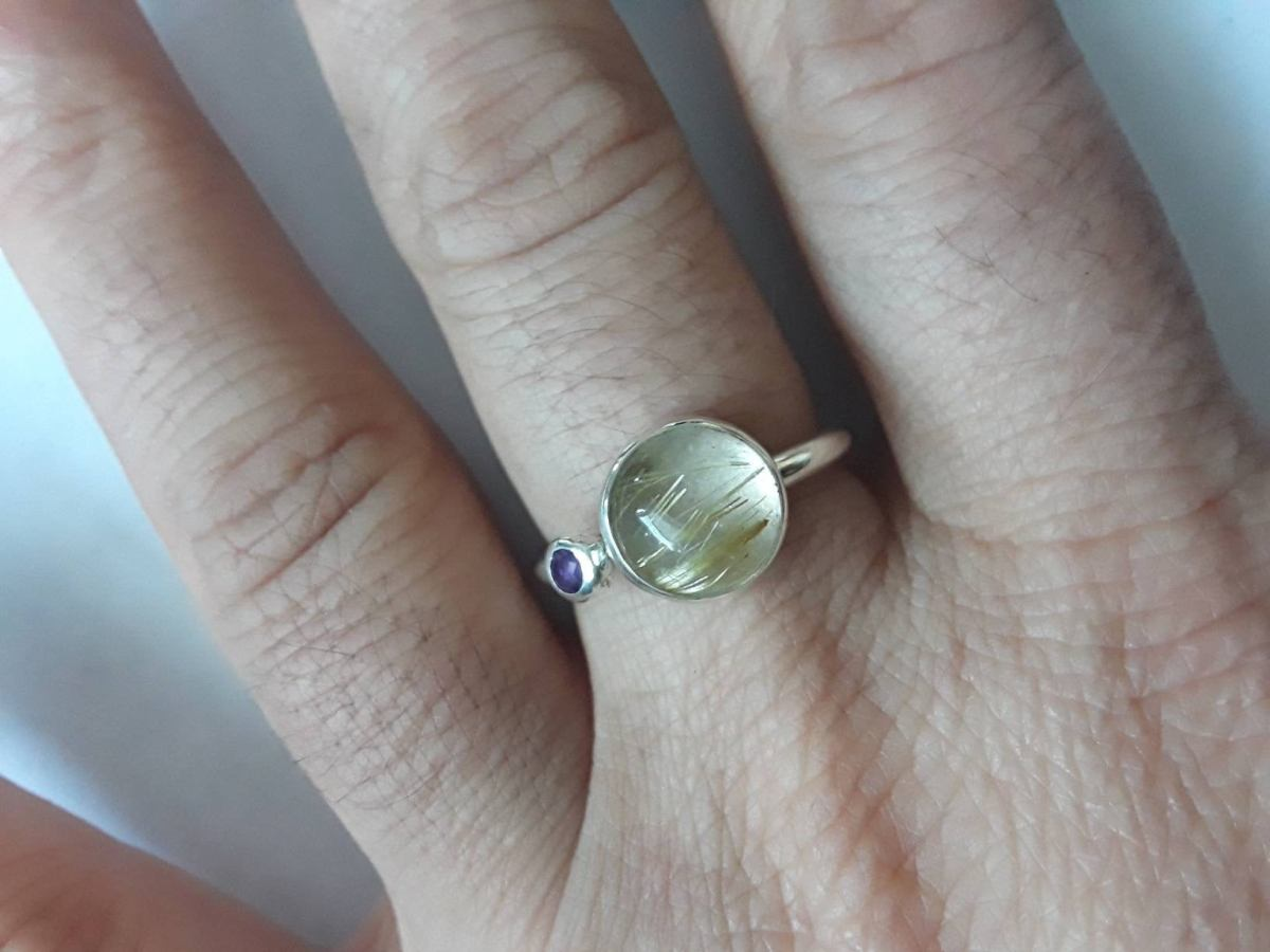 8mm rutilated quartz sterling silver stacking ring
