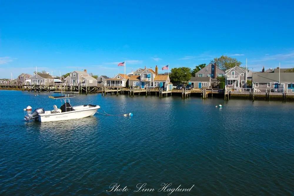 Nantucket houses overlooking the harbour