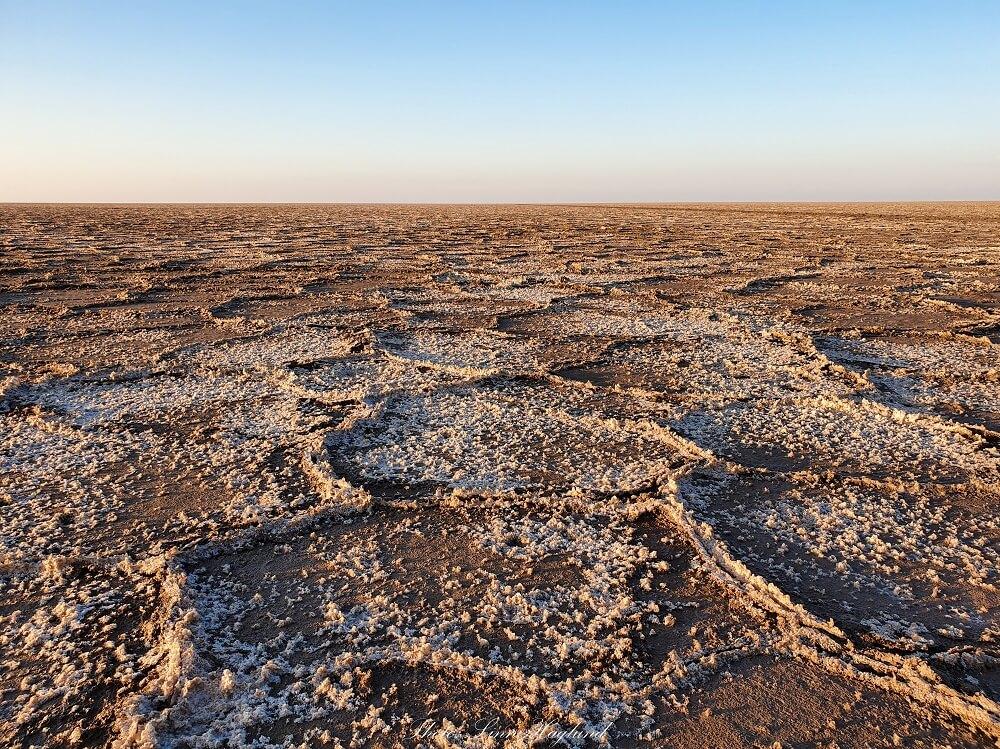 The Salt Lake in the Maranjab desert is dry in winter