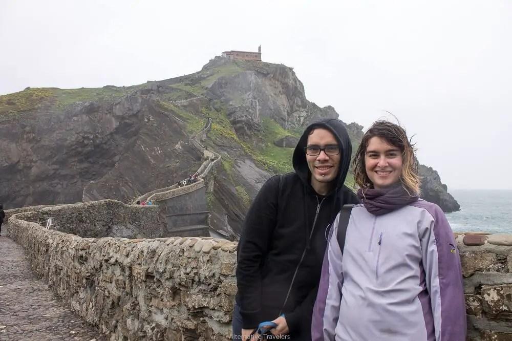 Sam and Veren at San Juan de Gatzelugatxe, Spain