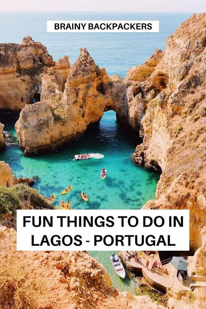 Are you planning a trip to Lagos Portugal and wondering what to get up to? Here is a complete list of fun things to do in Lagos Portugal. Find out what to do in Lagos and surroundings. How to get to Lagos Portugal. Where to stay in Lagos Portugal. #responsibletourism #traveltips #portugal #algarve #europe #town #holiday #beach #surf #hike #snorkel #nature #travelguide #brainybackpackers