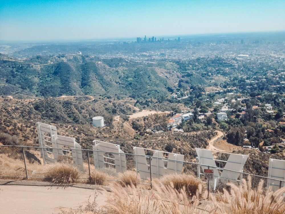 Hiking in southern California to the top of the Hollywood sign