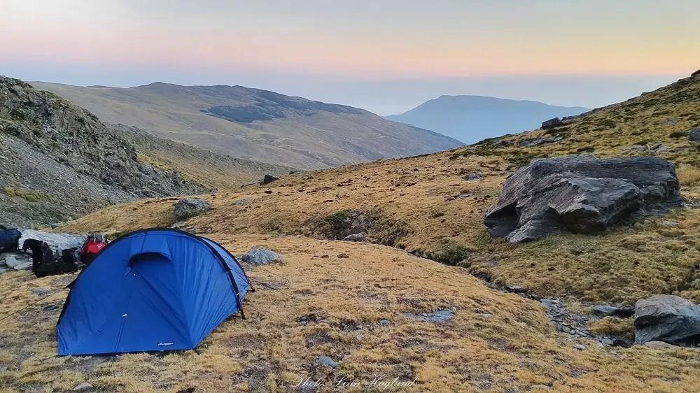 Wild camping while trekking Mulhacen