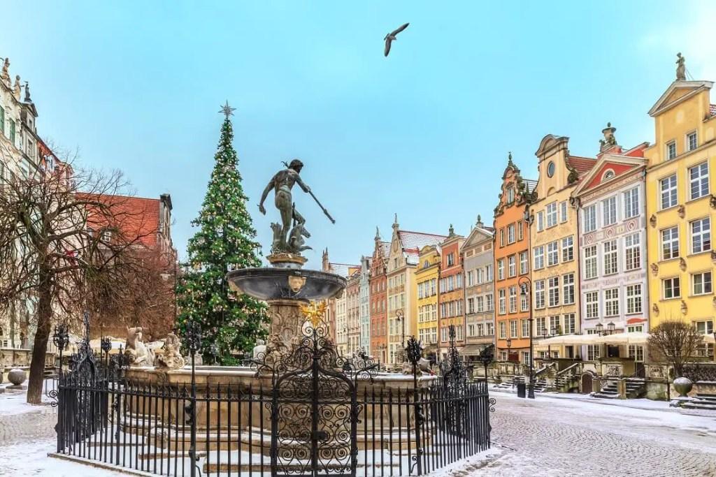 Gdansk in winter Neptunes Fountain