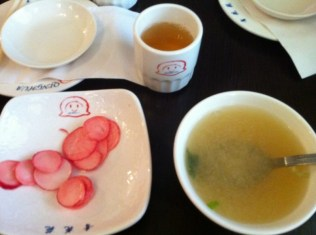 Marinated Radishes, Tea, Miso Soup