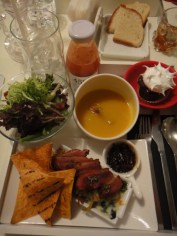 Set Menu: Pumpkin Soup, Salad, Duck Confit and Corn Chips, Chocolate Hazelnut Cupcake
