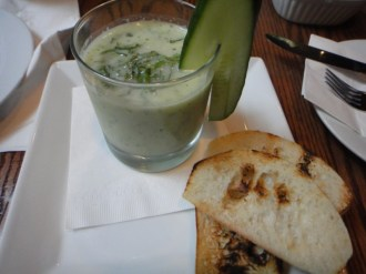 """Cold """"Gin Tonic"""" Cucumber Soup"""