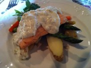 Poached Salmon With Braised Mini-Leeks, Gribiche Sauce