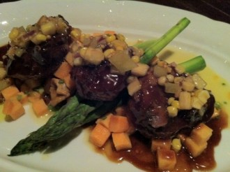 Braised veal cheeks, sweet potato risotto, wild mushrooms, grilled asparagus, fresh corn and green tomato salsa