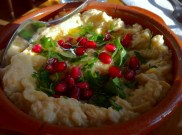 Baba Ganouj With Grilled Eggplants, Yogurt, Tahini and Pomegranate