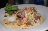 Shakriyye - Lamb Cooked in a Creamy Saffron and Mint Yogurt Sauce With Garlic Chips and Rice