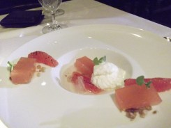 Grapefruit gelée suprêmes, with champagne and white chocolate