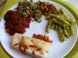 Quesadilla, Chili, Tabouleh, ChickPea and Mint Salad and Pesto Penne