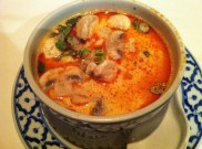 Tom Kah Talay: Hot and Sour Soup Seafood Soup With Squid, Crab Claws, Scallop, Shrimp, Squid, Coconut Milk and Lemongrass