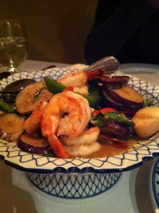 Sauteed Eggplant With Shrimps and Scallops in Spicy Sauce With Basil