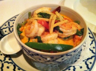 Shrimp in Red Curry WIth Coconut Milk and Sweet Basil Leaves