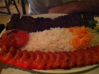 Sultani - Filet Mignon, Ground Beef Brochettes and Saffron Rice