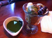 Green Tea Ice Cream With Mochi, Red Beans and Green Tea Sauce