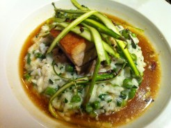 Asparagus risotto with aged cheddar and cripsy pork flank