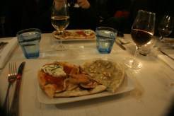 Pizza Trio: Foie Gras and Fig, Margherita and Burrata and Pear, Gorgonzola and Pine Nuts