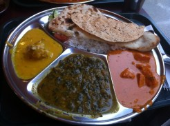 Thali Platter: Onion Curry, Butter Chicken, Spinach Paneer