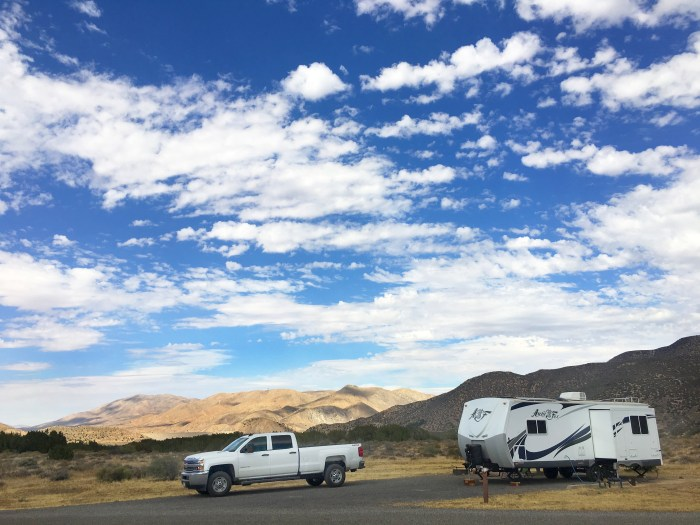 Our truck and trailer at Mojave River Forks Campground