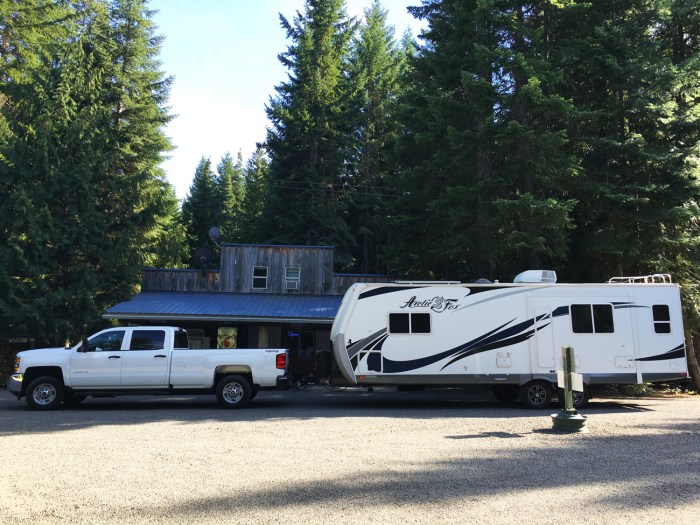 Foxy plus Blondie in front of the office at Elk Meadows RV Park