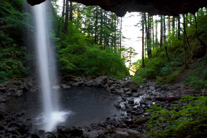 View from the trail under Upper Horsetail Falls