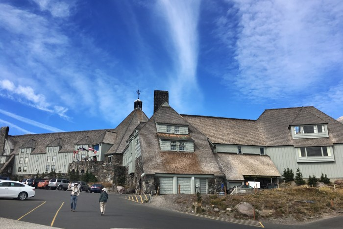 View of Timberline Lodge from the parking lot on Mt. Hood