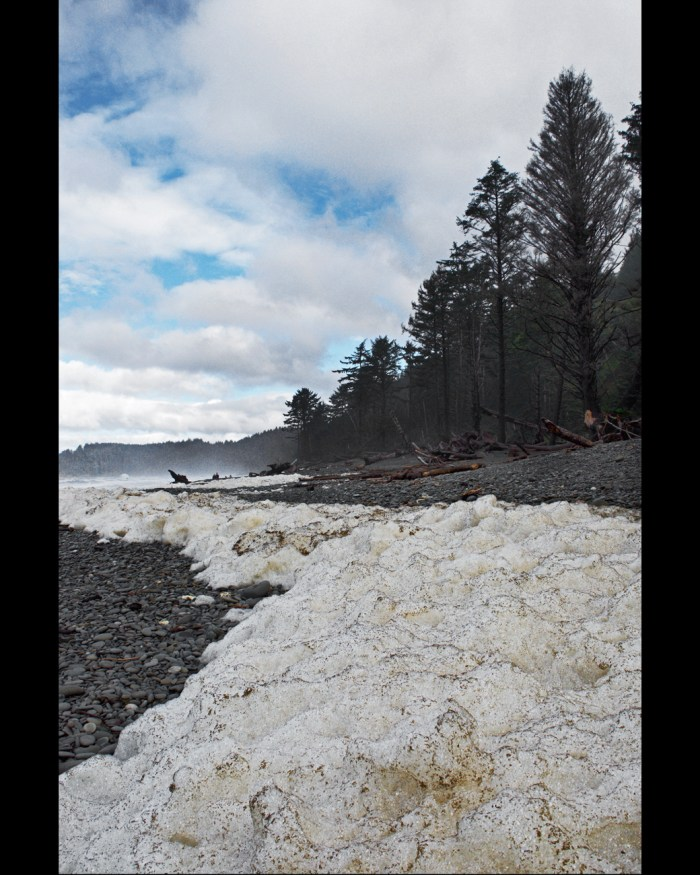 Sea foam on Rialto Beach