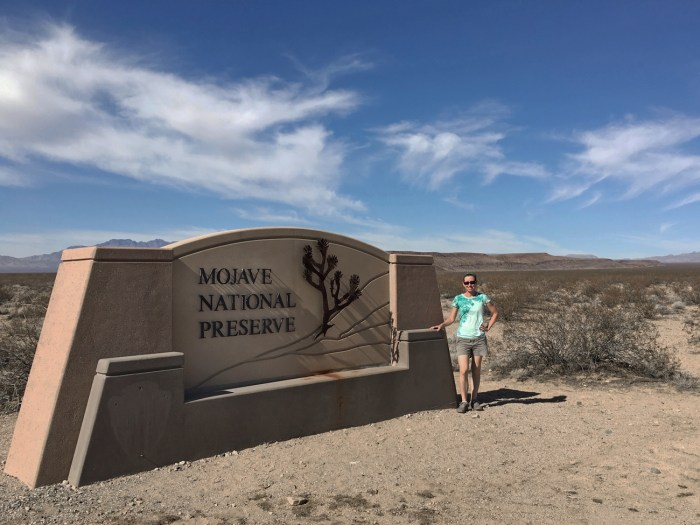 Christina standing by the entrance sign for the Mojave National Preserve