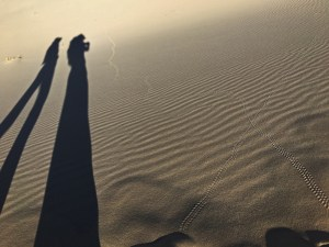 Our shadows (with really long legs) on the rippled dune sand at Kelso Dunes