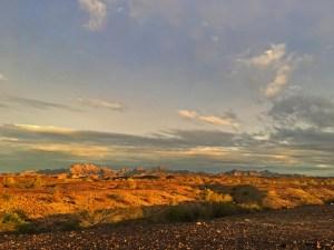 Sunset on the desert mountains called Trigo Mountains behind our campsite