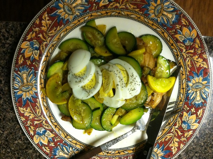 A typical dinner on the SIBO Diet - chicken and summer squash with boiled egg on top