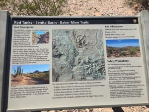Park sign on the Red Tanks Tinaja - Senita Basin Loop Trails