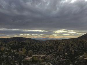 View of the pinnacles from Massai Point late in the day under stormy skies