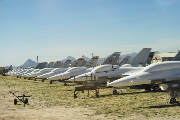 F16s lined up at the Boneyard