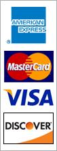 American Express, MasterCard, Visa, Discover