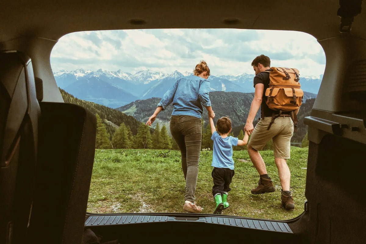 Family leaving car to explore outdoors