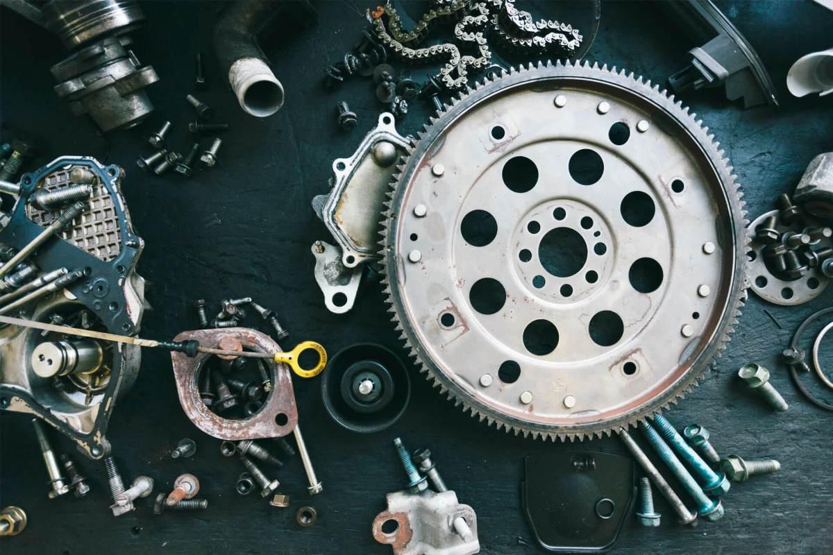 various metal car parts