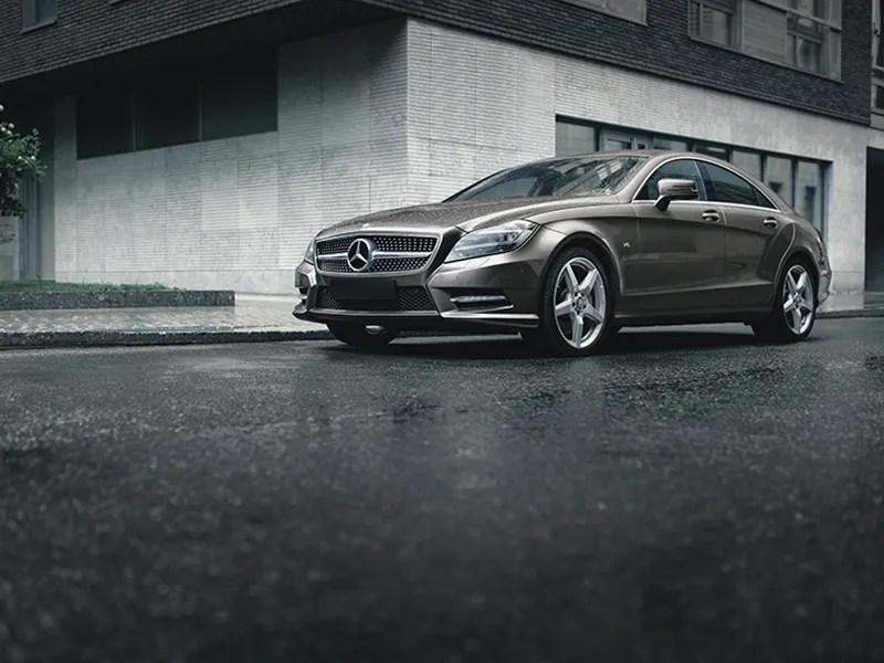 Mercedes-Benz CLS 500 4MATIC parked in office building