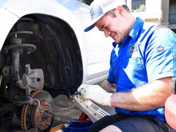 Gabe working on vehicle