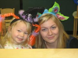 HS and PReschool student with whacky head dress