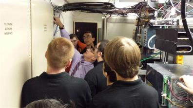 Students observing network wiring