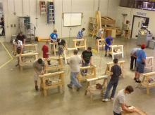 students working in a wood shop
