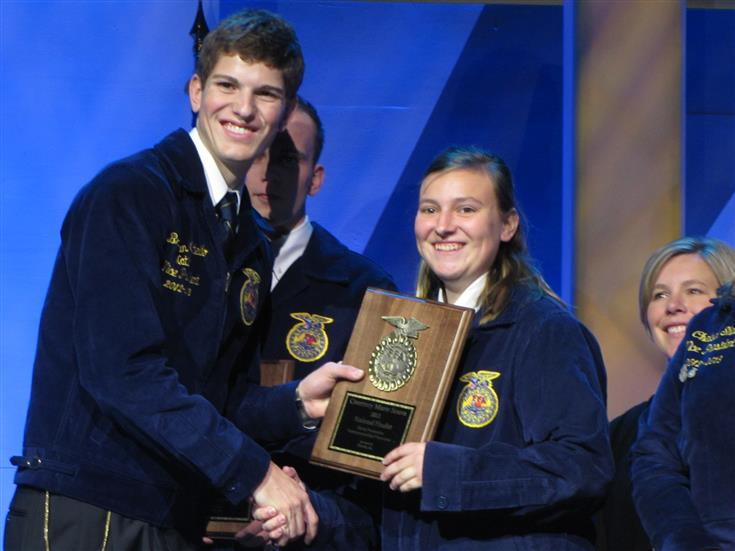 Student receiving an award